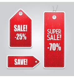 Red price sale tags stickers set vector