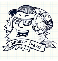 Backpack traveler vector
