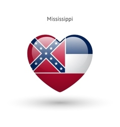 Love mississippi state symbol heart flag icon vector
