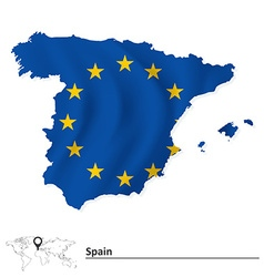 Map of spain with european union flag vector