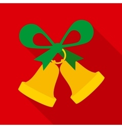Christmas bells with green bow vector