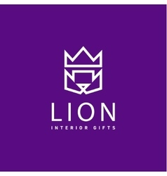 Lion crown as trend logo gifts flat style art vector
