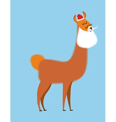 Alpaca lama santa claus wild animal with beard and vector