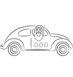 Santa claus in car vector