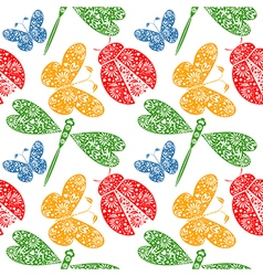 Pattern with decorative dragonflies ladybugs vector