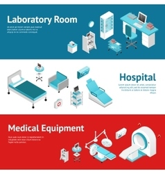 Hospital medical equipment flat banners set vector