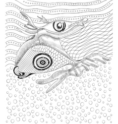 Surreal hand drawing whale and fish vector