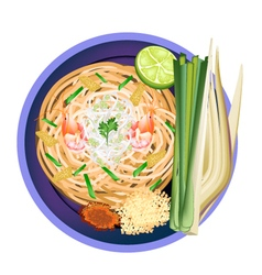 Pad thai or traditional stir fried noodles vector