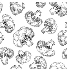 Broccoli hand drawn seamless pattern vector
