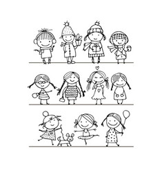 Art children set sketch for your design vector