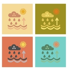 Assembly flat icons nature radioactive cloud and vector