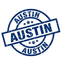 Austin blue round grunge stamp vector