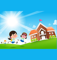 Back to school concept student kids jumping and vector