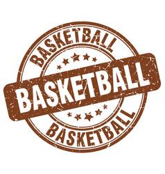 Basketball brown grunge round vintage rubber stamp vector