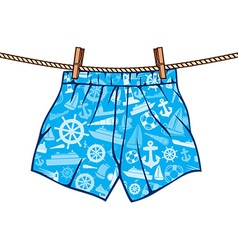 Boxer shorts hanging on the line vector