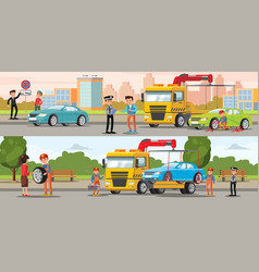 car evacuation horizontal banners vector image vector image