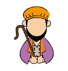 Cartoon shepherd holding stick with tunic and vector