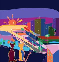 City sunset vector