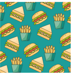 delicious fast food pattern background vector image vector image