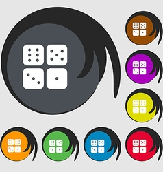 Dices icon sign symbols on eight colored buttons vector