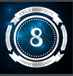 Eight years anniversary celebration with silver vector
