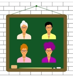 female teacher characters set vector image
