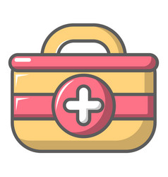 First aid bag icon cartoon style vector
