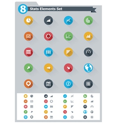Flat statistic elements icon set vector