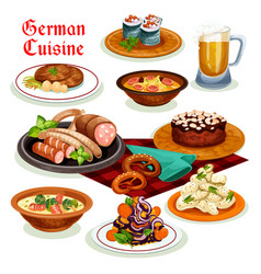 German cuisine dinner with beer and sausage icon vector