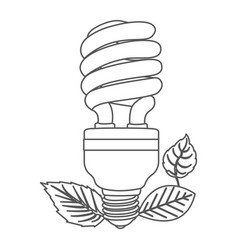grayscale contour with fluorescent bulb spiral and vector image vector image