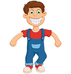 Happy little boy cartoon jumping vector