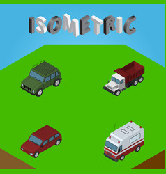 Isometric automobile set of first-aid freight vector