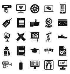 Learn programming icons set simple style vector