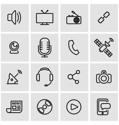 Line media icon set vector