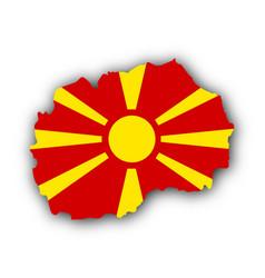 Map and flag of macedonia vector