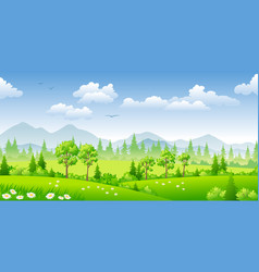 panorama summer landscape with trees vector image vector image