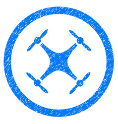 Quadcopter rounded grainy icon vector