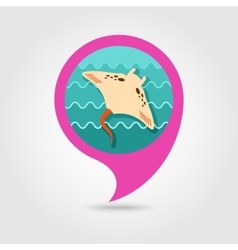Ramp fish pin map icon summer vacation vector