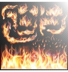 Realistic fire flames set EPS 10 vector image