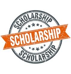 Scholarship round orange grungy vintage isolated vector