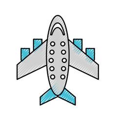 Scribble airplane cartoon vector