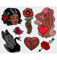 set of black beauty related flash style patches vector image vector image