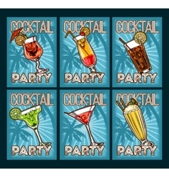 Set of cocktail glasses vector