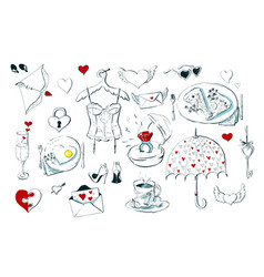 set of cute icons for valentine s day isolated on vector image vector image
