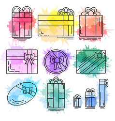 set of linear icons of festive gifts of various vector image vector image
