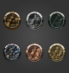Set of round concave stone buttons vector image vector image