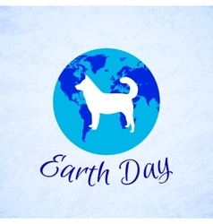 Silhouette of a dog over planet earth earth day vector