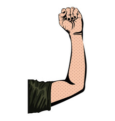Silhouette with arm up with closed fist vector