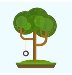 Swing on tree in park vector