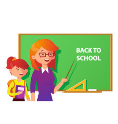 teacher and student near the blackboard pointing vector image vector image